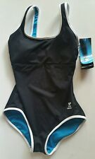 TYR Reversible Durafast Stretch Swimsuit Black/Aqua Blue Teal Sz 8 NEW NWT