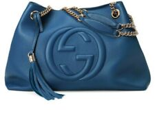 Gucci Soho BLUE Caspian Gold Double Chain Hobo Leather Shoulder Bag Itay 1 NEW