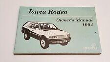 1994 ISUZU RODEO OWNERS MANUAL V6 2.6L 3.2L 4X4 2WD S LS FUSES FLUIDS RADIO OEM