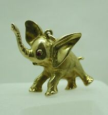 "Superb Heavy 9ct Gold ""Dumbo"" Baby Elephant Charm / Pendant Ruby Set Eye"