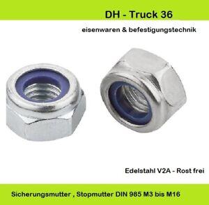 Sicherungsmuttern DIN 985 M2,5 - M16 Stopmuttern - Selbstsichernde Muttern V2A