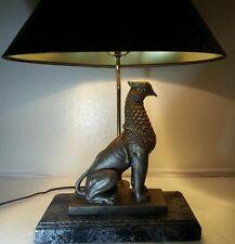 "VINTAGE RARE CHINESE BRASS WOOD ? PHOENIX BIRD ANIMAL STATUE TABLE LAMP, 25"""