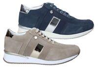 KEYS 5512 AVIO BEIGE scarpe donna sneakers pelle camoscio casual zeppa lacci blu