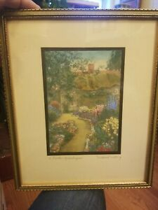"""1914 Wallace Nutting Signed Print """"A Garden of Larkspur"""" Hand Tinted Original"""