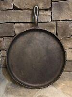 "Vintage Round Cast Iron Flat Griddle Skillet Pan 10 HBM 11 3/8"" Cast Iron Handle"