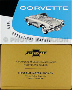 1958 Corvette Owners Manual with Envelope 58 Owner Guide Book NEW Chevy