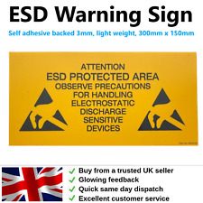 Anti Static ESD Rigid Protected Area Sign 300mm x 150mm 3mm Thick Self Adhesive