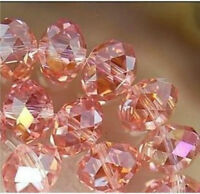 Wholesale Faceted Crystal Loose Charm Glass Beads silver Pink AB 4*6mm 98pc