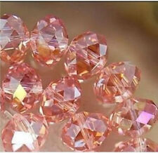 Wholesale Faceted Crystal Loose Charm Glass Beads silver Pink AB 6*8mm 70pc
