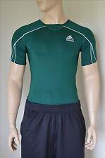 Nouveau adidas techfit à manches courtes ss couche de base compression shirt green tee m