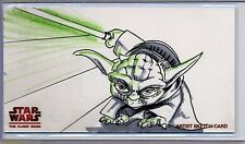 YODA Topps STAR WARS CLONE WARS Widevision SKETCH by ALEX BUECHEL **50 MADE**