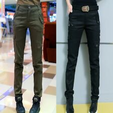 Women Army Cargo Pants Military Tactical Trousers Stretch Long Slim Pockets New