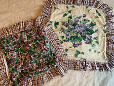 2 Waverly Garden Room Sweet Violet & Purple Floral  Ruffle Pillow Covers EUC