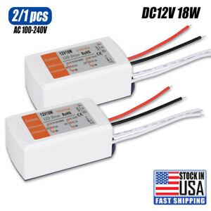 LED Driver AC 120V/240V to DC 12V Transformer Power Adapter Home Converter 18W