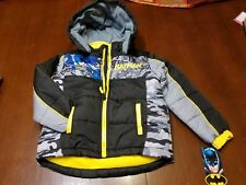 BATMAN  BOYS - SIZE 5-6 PUFFER JACKET w/HOODIE *BRAND NEW WITH TAG