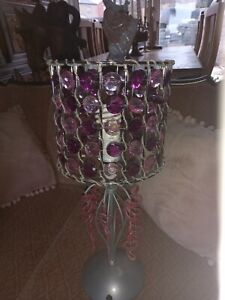 Pretty 2 Pair pink purple crystal stone bedside table Lamps metal  silver bases