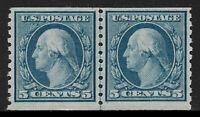 US #496 1919 5c Washington Line Pair Mint F/VF NH OG. Free Shipping
