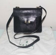 Authentic Vintage GUCCI black lizard leather bag long strap