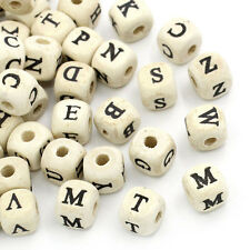 50Pcs A-Z Alphabet Cube Wood Beads Free Shipping Charms Pendant Making 10x10mm