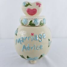 """Marriage Advice Jar Ceramic Hand Painted Wedding Shower Gift Couples approx 8"""" H"""