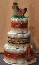 3 Tier Diaper Cake Cowboys Rule Western, Country Shower Centerpiece