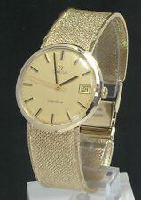 Omega Geneve Adult Solid Gold Strap Wristwatches