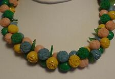 Necklace Celluloid Vintage Pink Yellow Blue Chain Celluloid 1930s