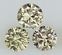 Natural Loose Diamond Round I1 Clarity Brown Color 3 Pcs 0.22 Ct N6419