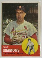 1963 Topps Curt Simmons #22 MLB Baseball Card St Louis Cardinals Vintage