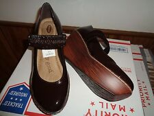 "DR. SCHOLL'S ""Feel Crazy Good"" Brown Wedge Mary Jane Shoes, Size 8M"