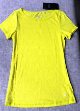 ASICS Womens ESS Burnout Tee shirt Bright Yellow Size 8 Brand New w tag Running