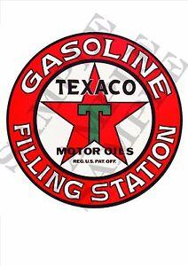 VINTAGE TEXACO GASOLINE PETROL DECAL STICKER LABEL LARGE 240mm DIA HOT ROD