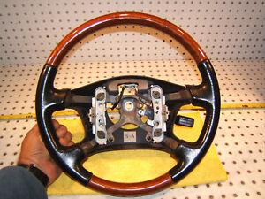 Lexus ES300 1997-01 wood Black leather Steering Genuine 1 Wheel Only,NO Cover