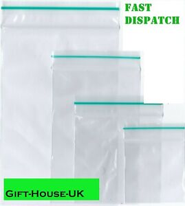 100 x Small Bags Plastic Clear Baggie Grip Self Seal Zip Lock Resalable Zipper