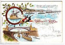 Gruss aus Kiel AK 1898 Schiffe Mehrbild Litho Schleswig-Holstein 1505624*