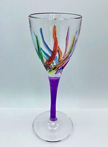 GLASSWARE - VENETIAN CARNEVALE CORDIAL GLASS - PURPLE - HAND PAINTED CRYSTAL