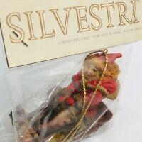 Vintage Silvestri Victorian Sledder Christmas Ornament Child On Sled