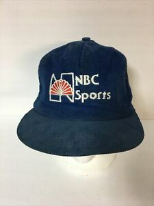 Vintage 80s NBC Sports Corduroy Embroidered Hat Blue