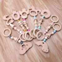 Baby Teething Play Gym Toys Animal Wooden Teether Chewable Silicone Beads Toy