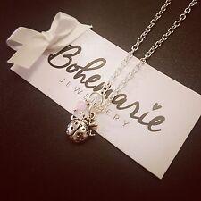 18 Inch ladybird charm necklace gemstone bijoux jewellery boho gypsy pink jade