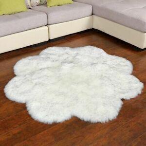 Faux Fur Rug Carpets For Living Room Fluffy Rug Sheepskin Rug Flower Shape