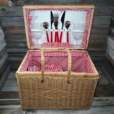 Vintage Classic Picnic Time Catalina Basket Utensils Plates Glass Bowls Blanket