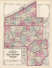 1872 Map of Erie, Crawford & Venago Counties, Pennsylvania- Original