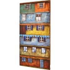 3D Metallbild Buntes Haus Wandbild 100 x 50 cm Bild Hochhaus Wandrelief Metall