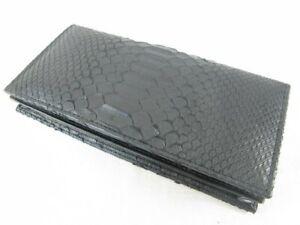 PELGIO Genuine Python Snake Skin Leather Checkbook Long Card ID Wallet Black New