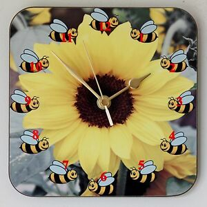Square Wall Clock of Bees around a Sunflower Floral design Size 19cm by 19cm