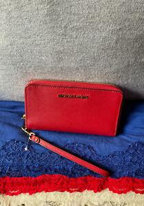 Michael Kors Jet Set Red Saffiano Leather Phone Case Organizer Zip Wristlet