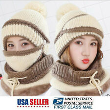 Women Winter Face Mask Knitted Hat Scarf Touch Screen Gloves Set Warm Mask Cap