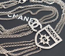 CHANEL CC Multi Strands Medallion Necklace Silver Tone Rhinestone w/BOX MINT