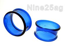 "PAIR OF PYREX GLASS 1"" 1/8 INCH (30mm) BLUE TUNNELS PLUGS PLUG TUNNEL"